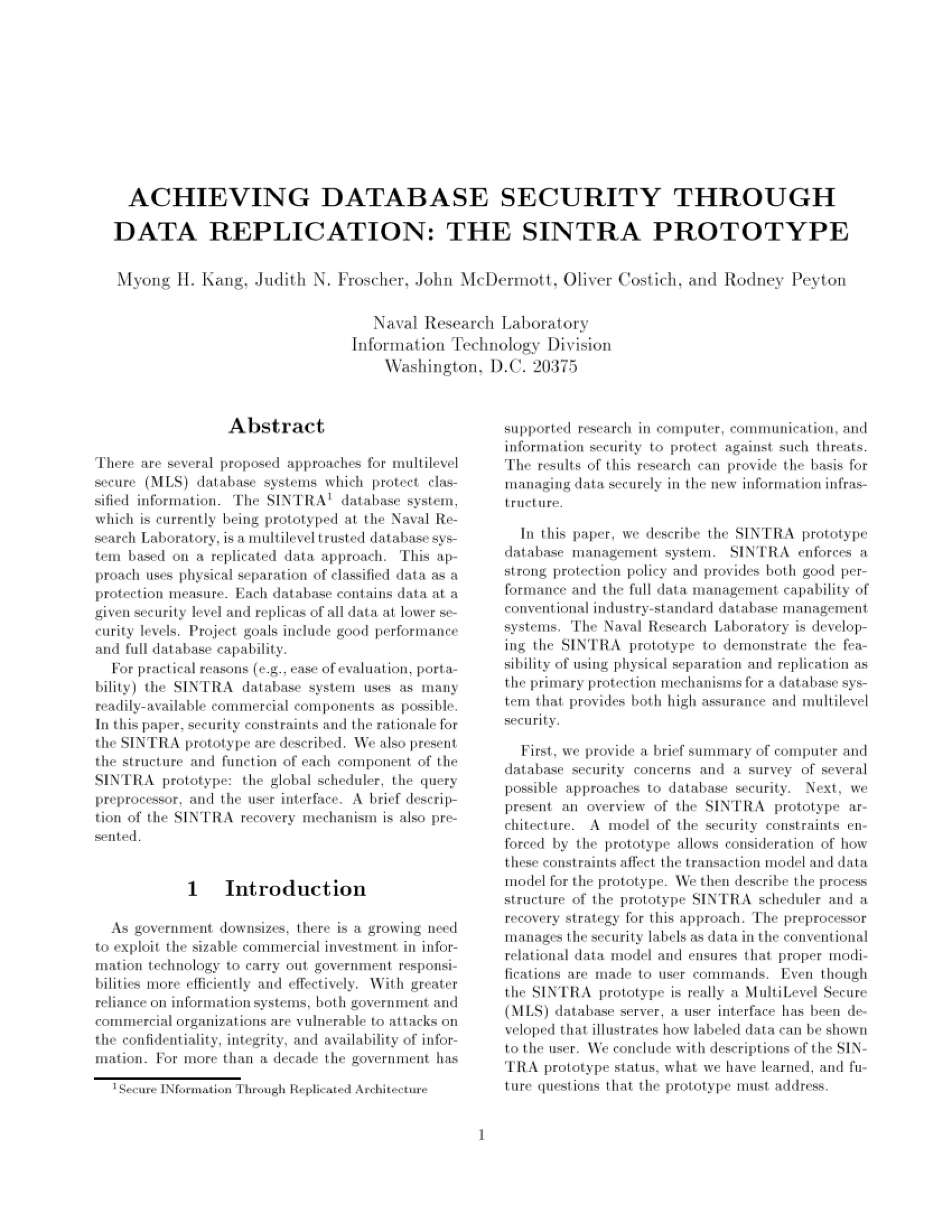 003 Database Security Research Paper Abstract Fascinating 1920