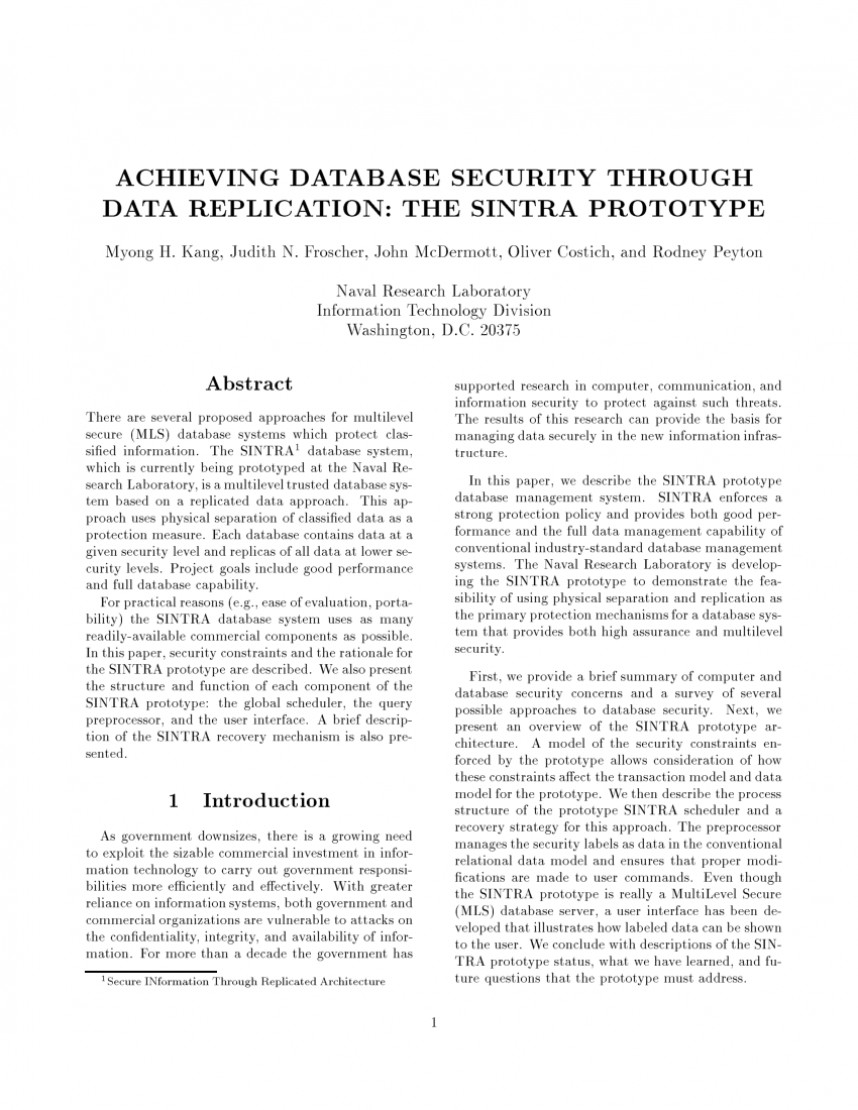 003 Database Security Research Paper Abstract Fascinating 868