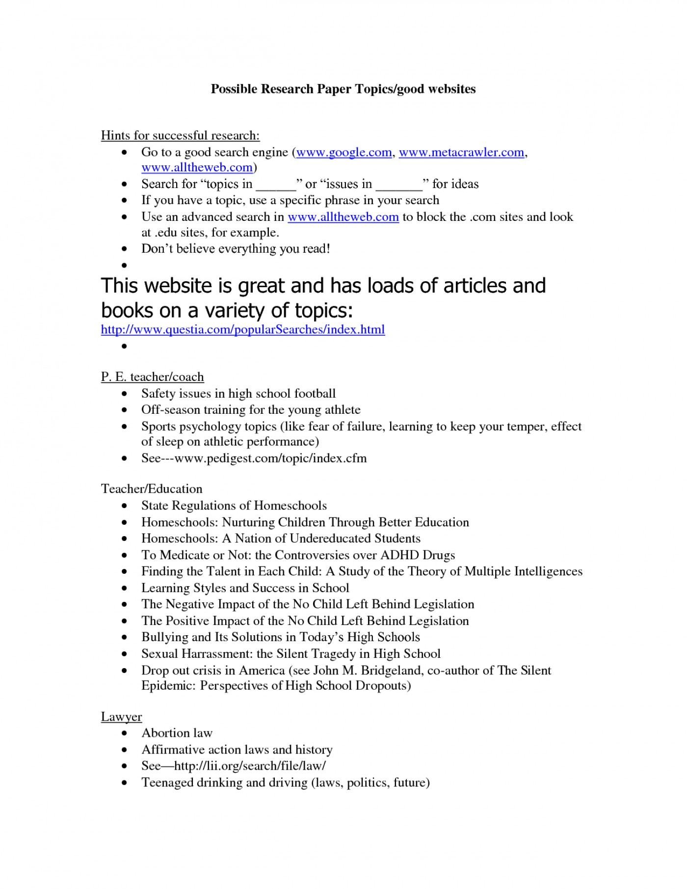 easy topics for research paper high school students best