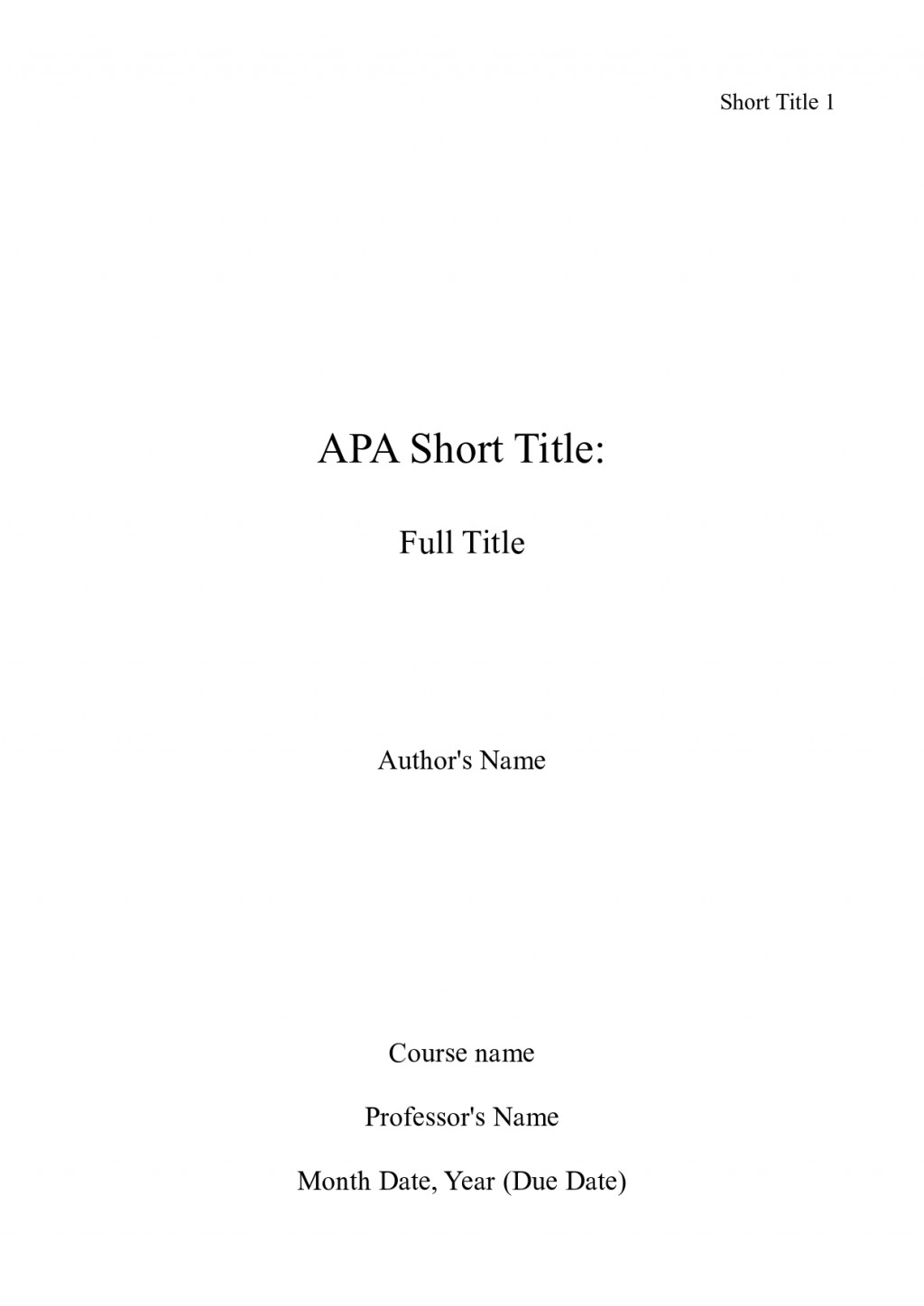 003 Front Page Of Term Paper Example Research Apa Title Unforgettable Sample Large
