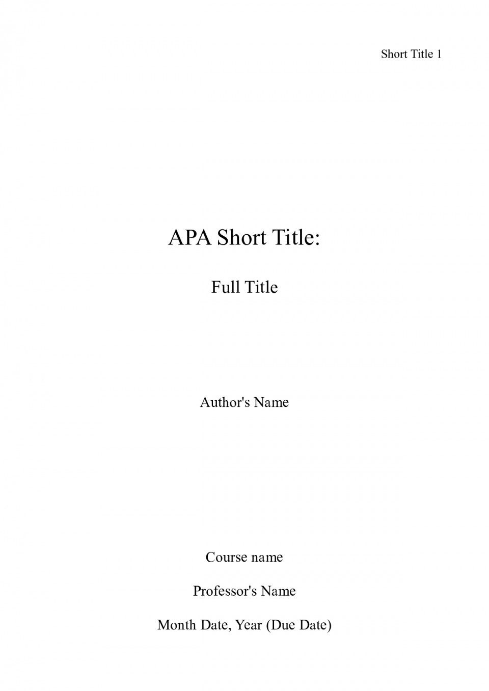 003 Front Page Of Term Paper Example Research Apa Title Unforgettable Sample 960