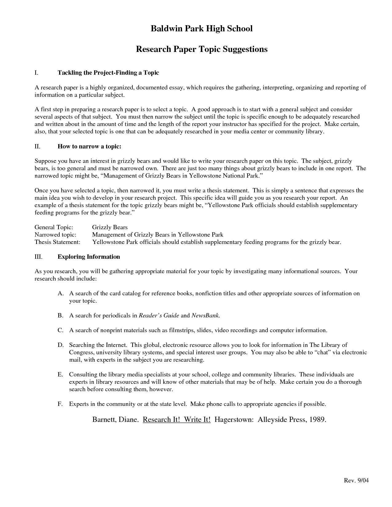 003 High School Research Paper Template Frightening Proposal Outline Example Full