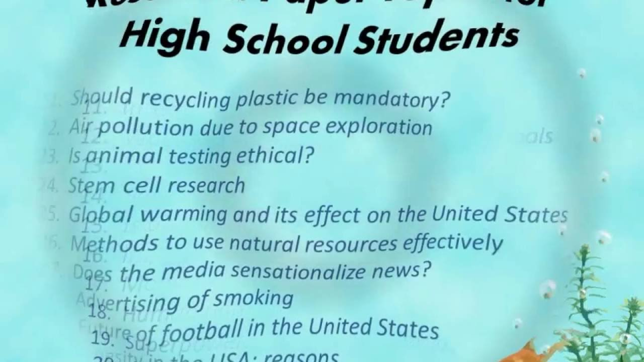 003 Interesting Topics For Research Paper High School Frightening A Students Argumentative