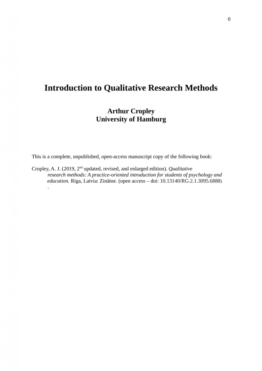 003 Introduction To Qualitative Research Paper Beautiful A How Write An