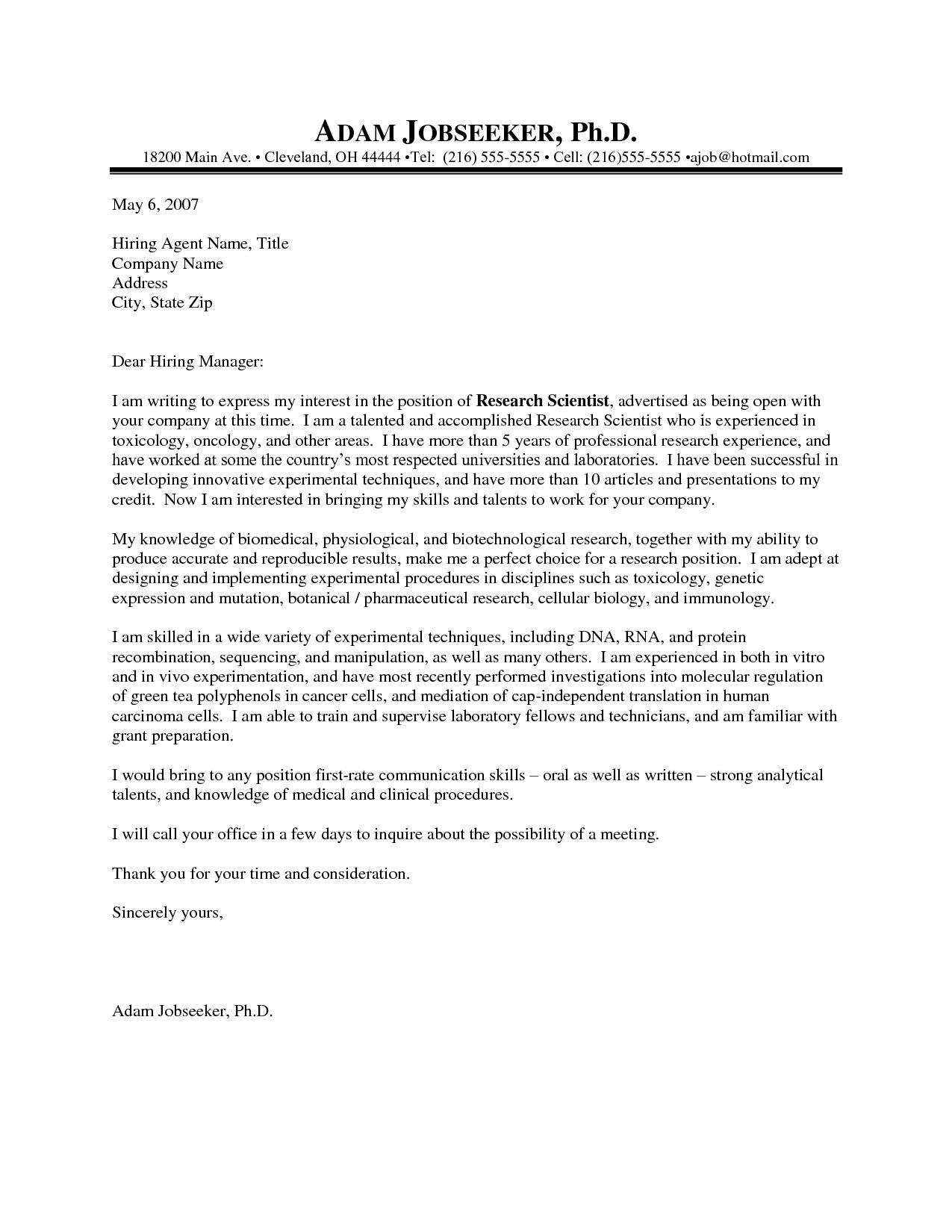 Scientific Cover Letter Examples from www.museumlegs.com