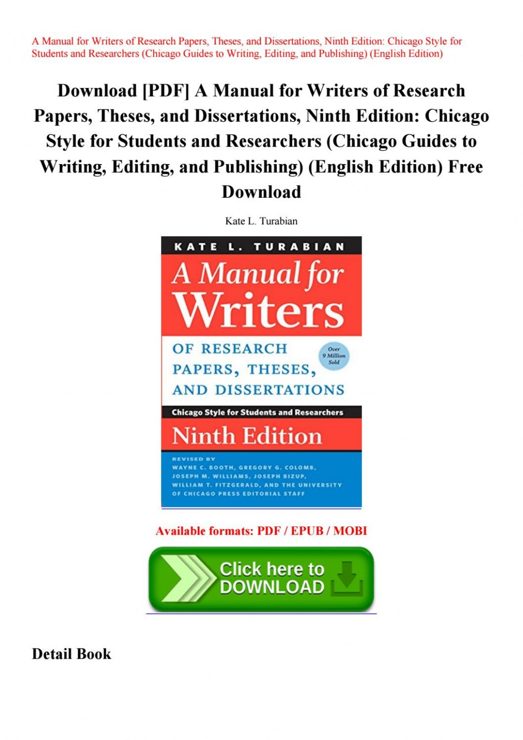 003 Manual For Writers Of Research Papers Theses And Dissertations 9th Edition Pdf Paper Page 1 Wonderful A Large