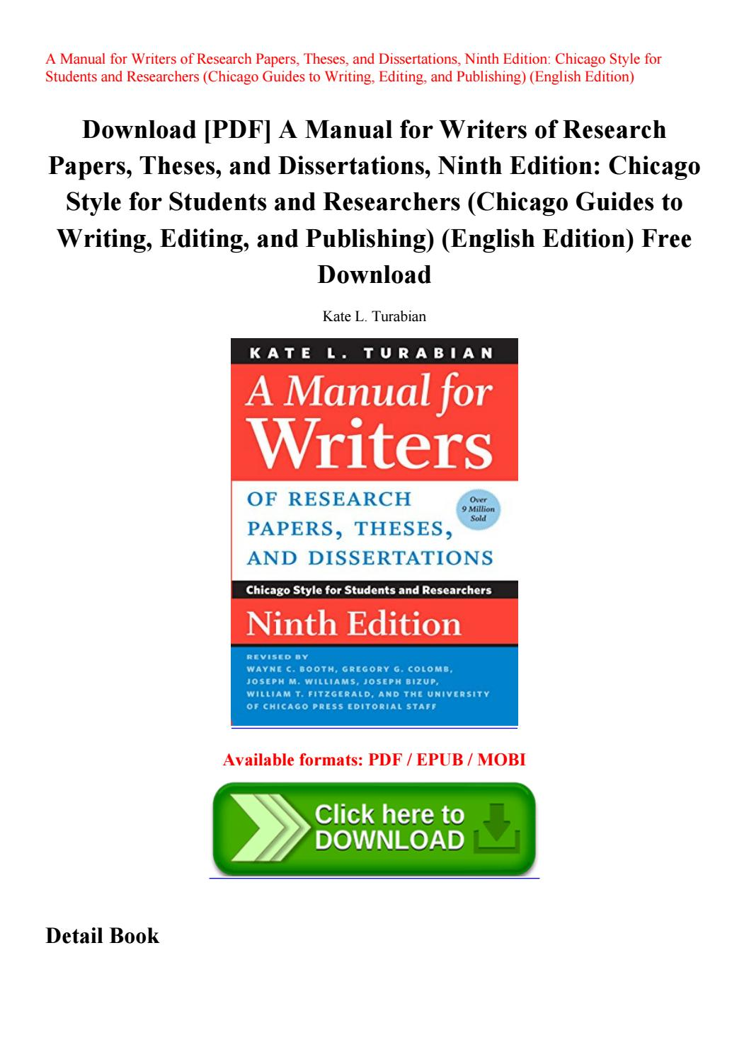 003 Manual For Writers Of Research Papers Theses And Dissertations 9th Edition Pdf Paper Page 1 Wonderful A Full