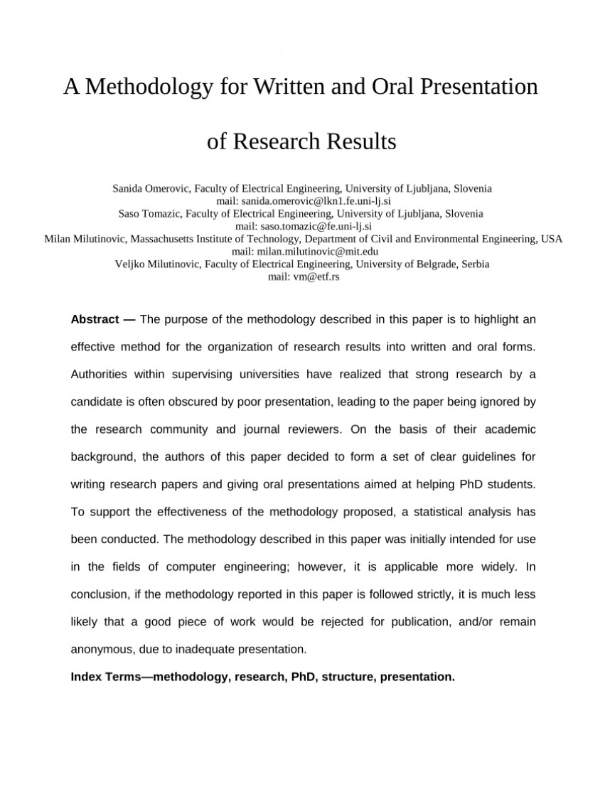 003 Method Used In Research Paper Shocking Methods And Procedures Example Mixed