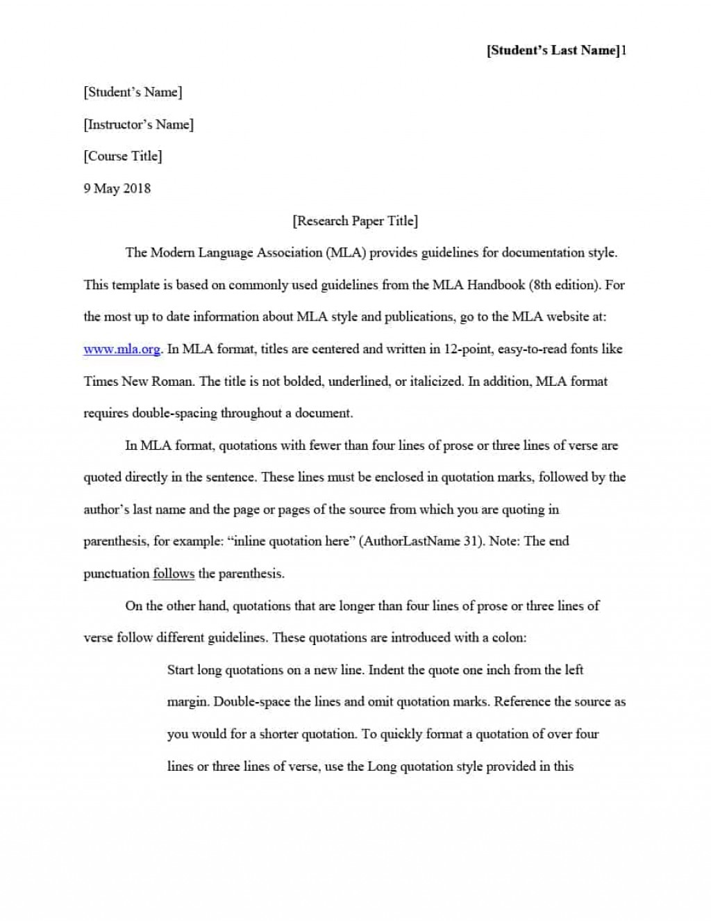 003 Mla Format Template For Research Magnificent Paper Example Works Cited Of With Title Page Large