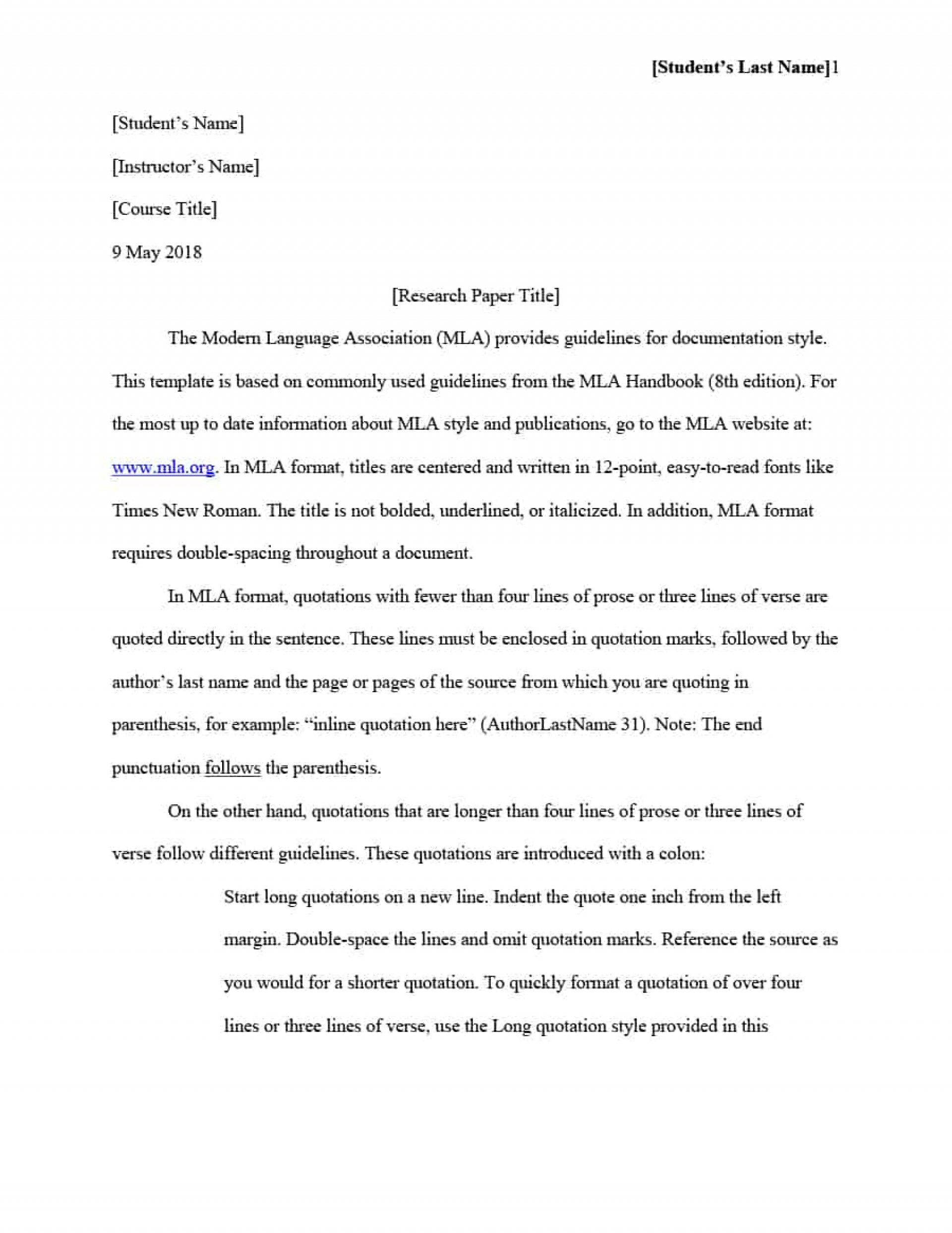 003 Mla Format Template For Research Magnificent Paper Example Works Cited Of With Title Page 1920