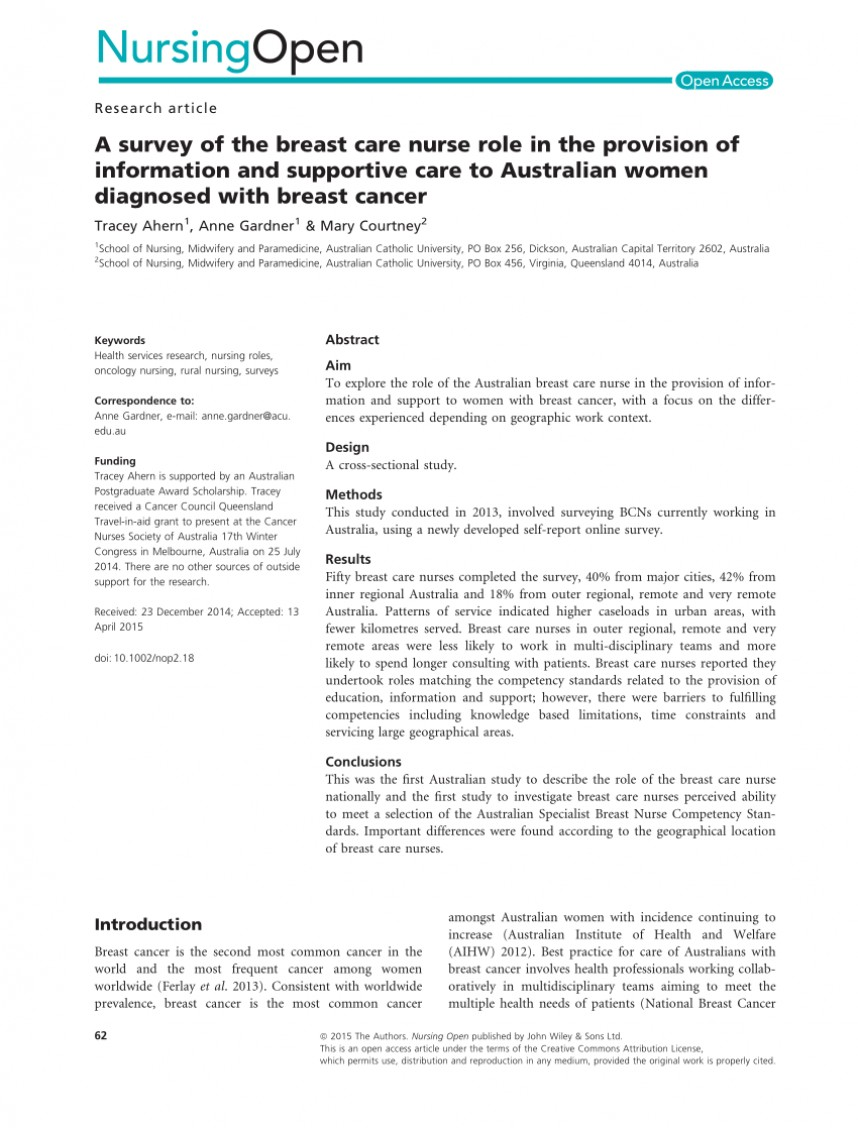 003 Nursing Research Studies On Breast Cancer Paper Unforgettable