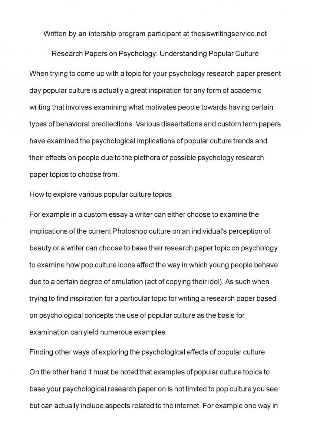 003 P1 Research Paper Cultural Psychology Topics Sensational For Large