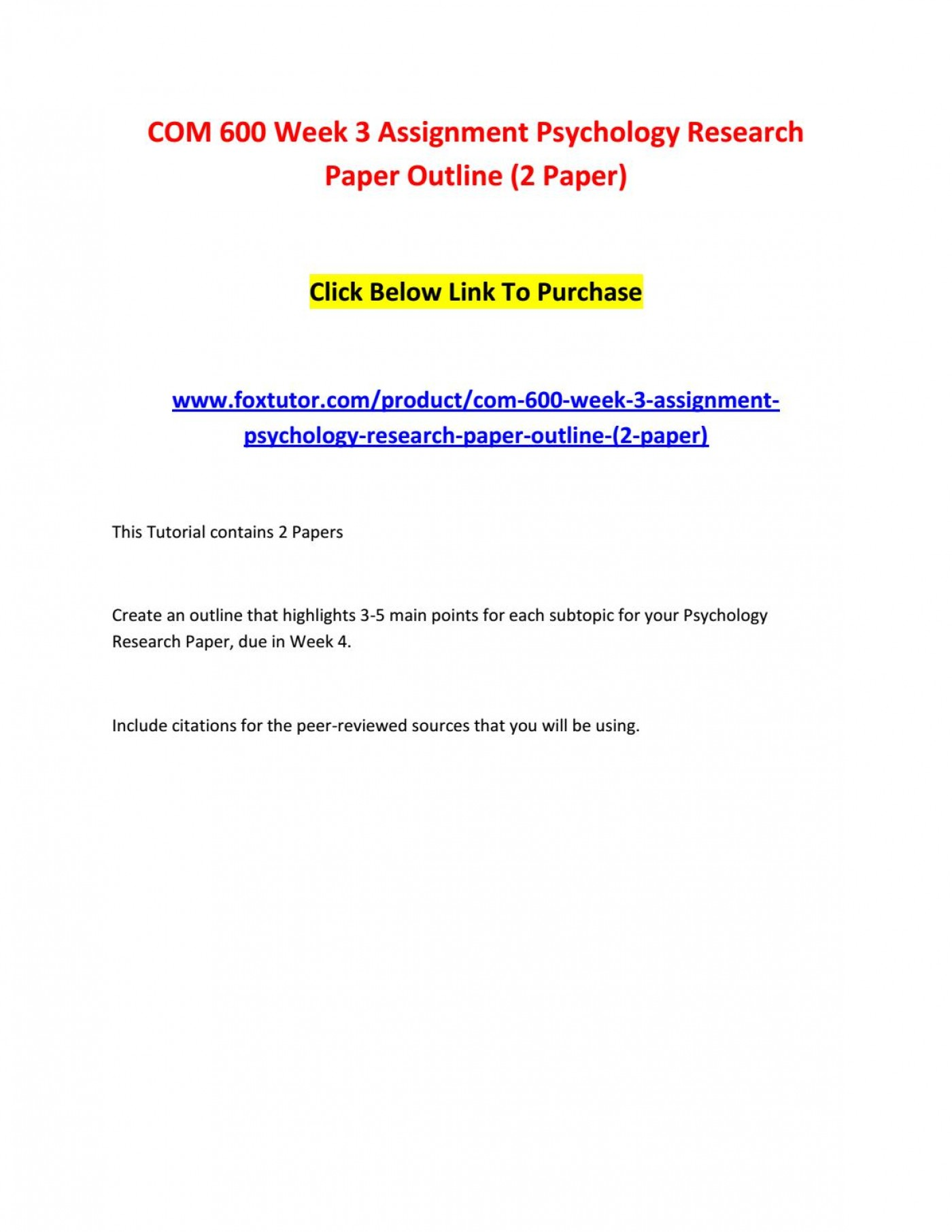 003 Page 1 Psychology Research Paper Outline Com Striking 600 Com/600 1400