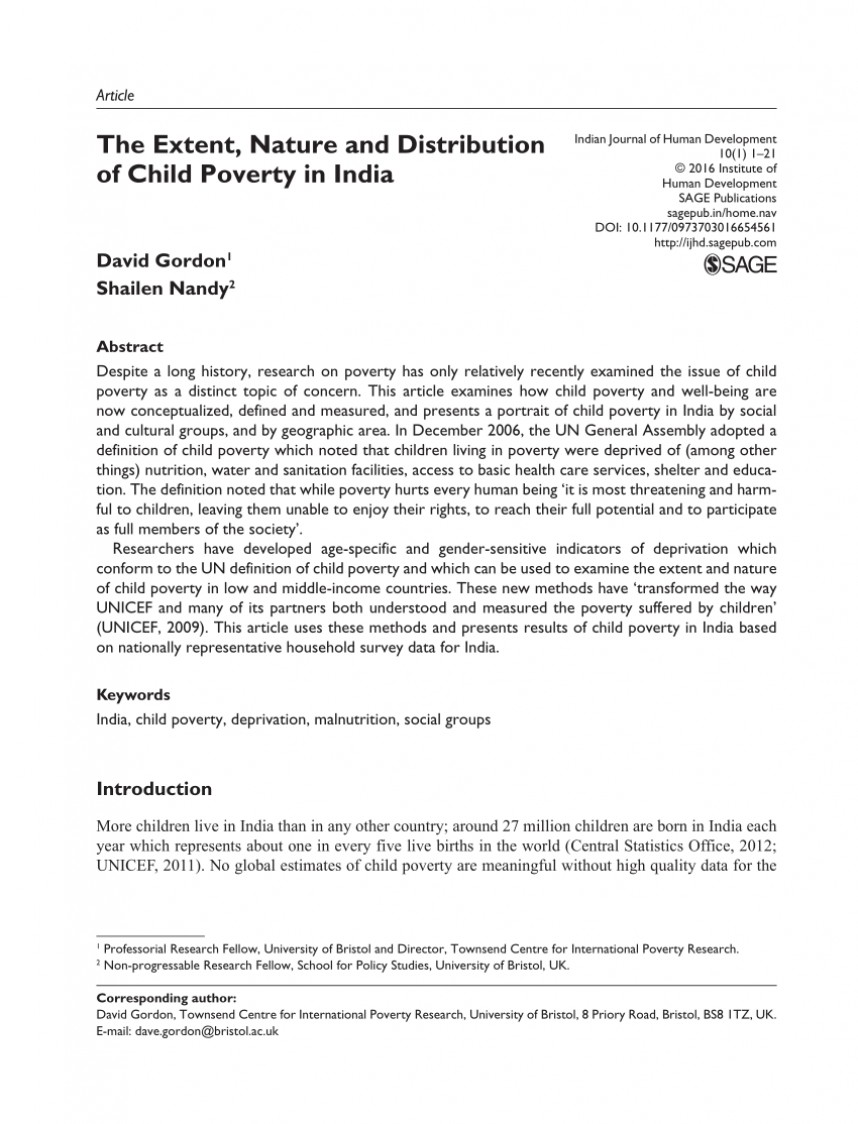 003 Poverty In India Research Paper Pdf Impressive