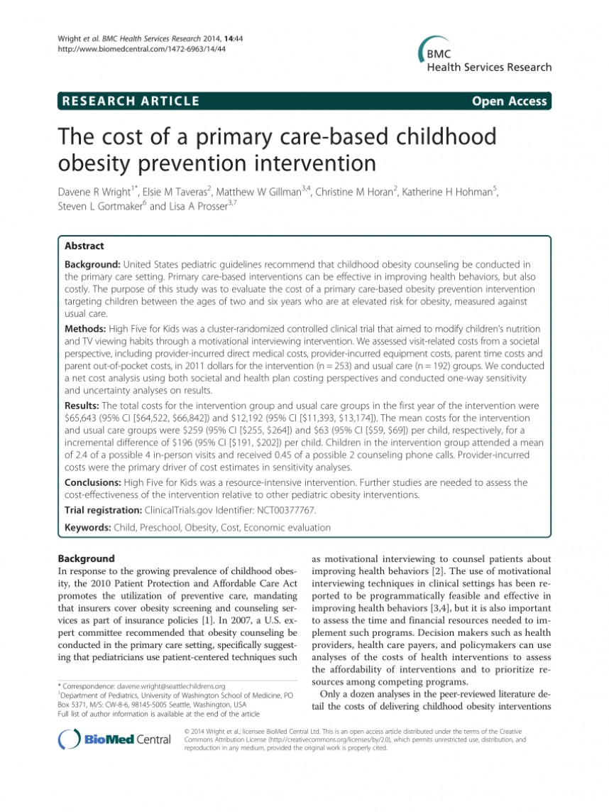 003 Primary Research Article On Childhood Obesity Paper Imposing 868