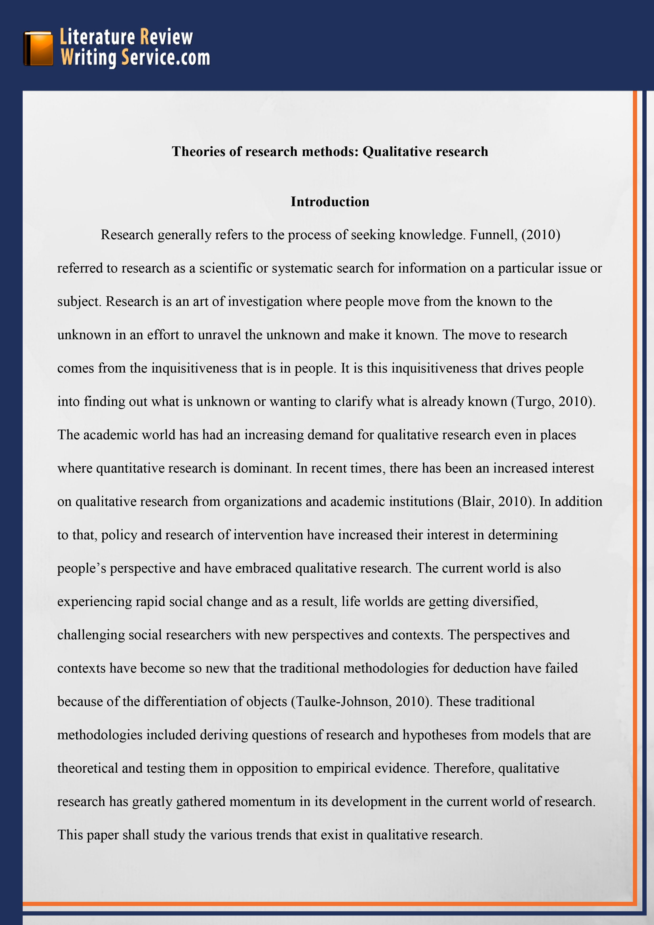 003 Psychology Literature Review Paper Example Wondrous Full