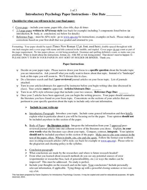 003 Psychology Research Paper Topics List Example Awesome Topic Ideas 480