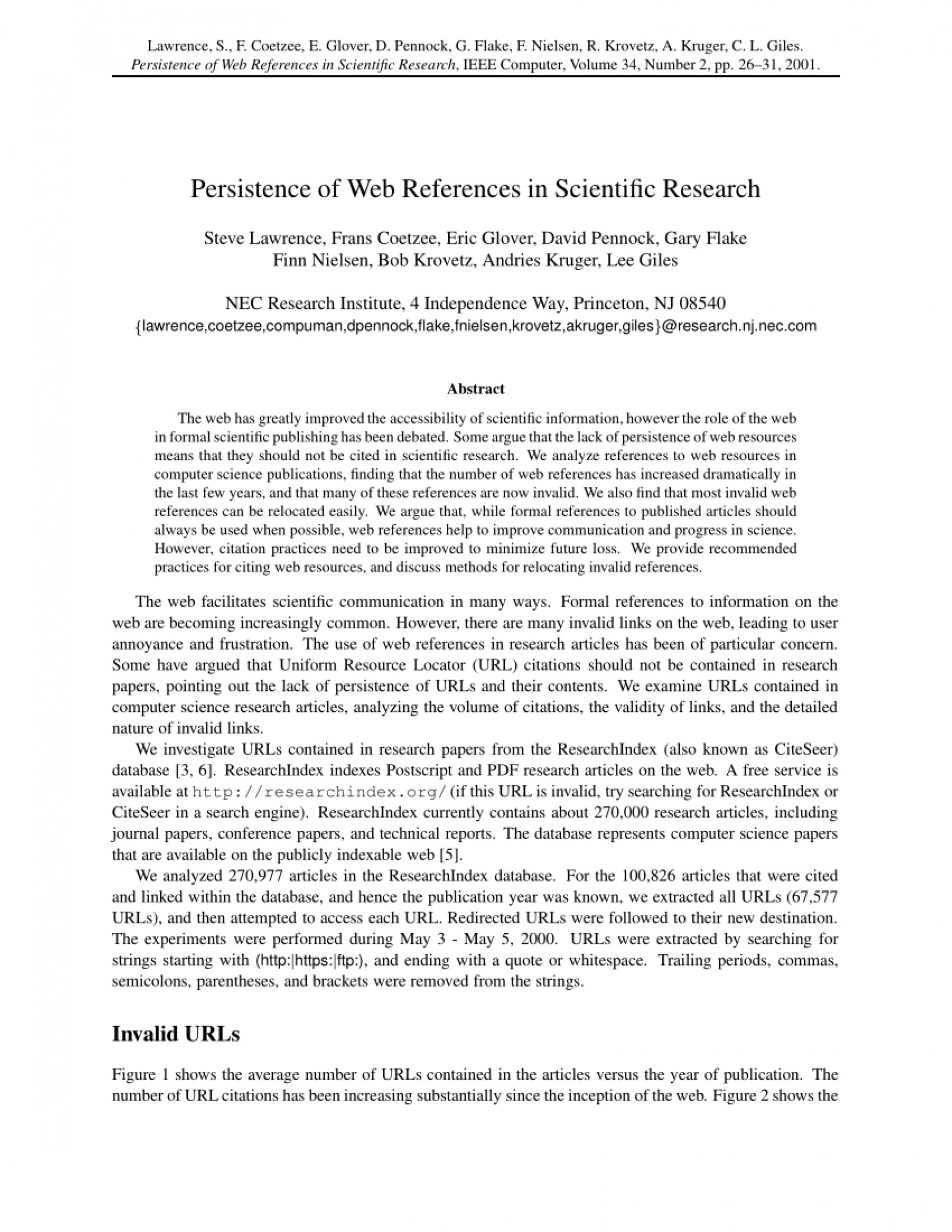 003 Research Paper Citing References In Scientific Papers Singular 1920