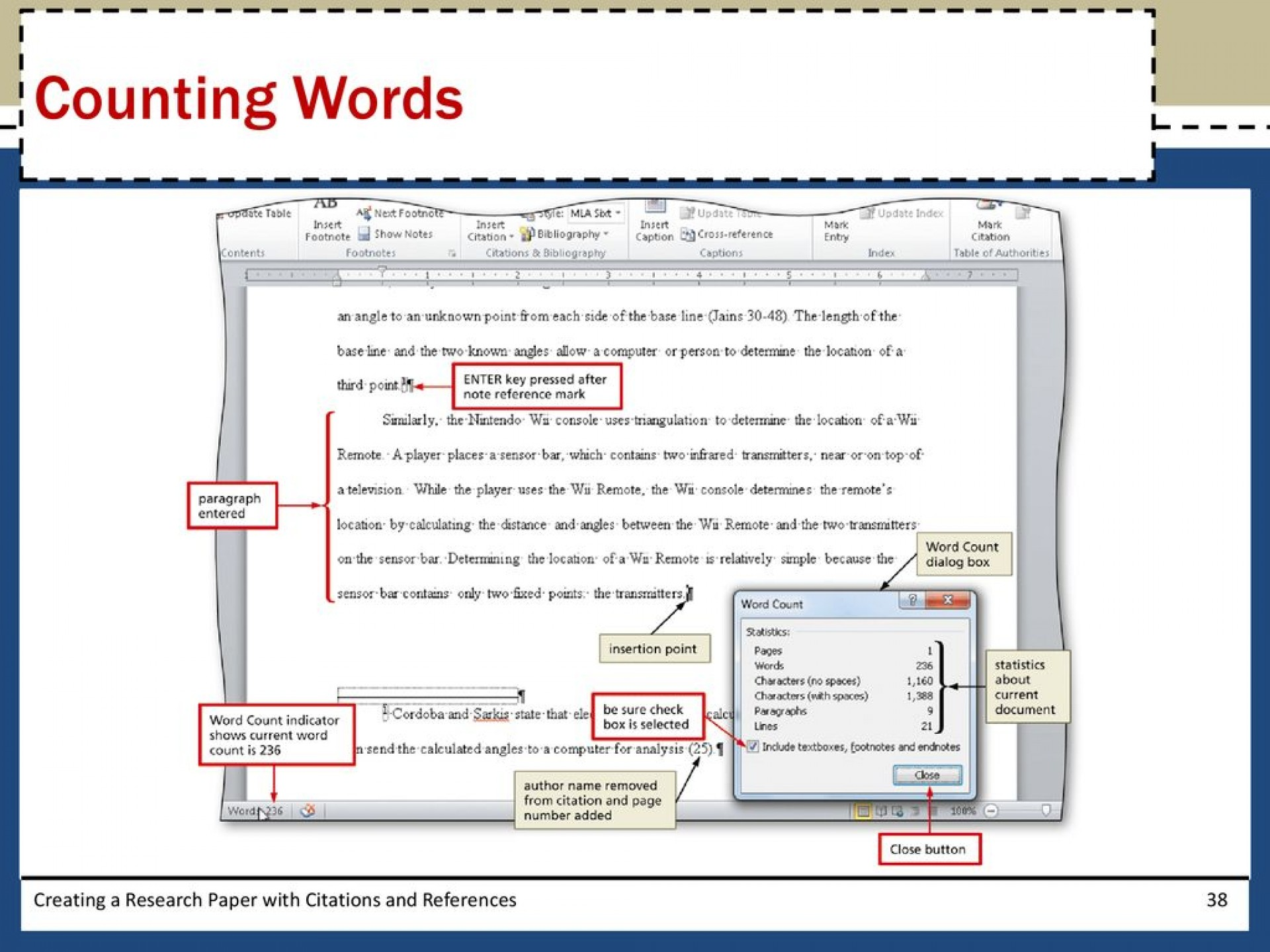 003 Research Paper Countingwordscreatingaresearchpaperwithcitationsandreferences Creating With Citations And Unusual A References Sources Quizlet Word Module 2 1920