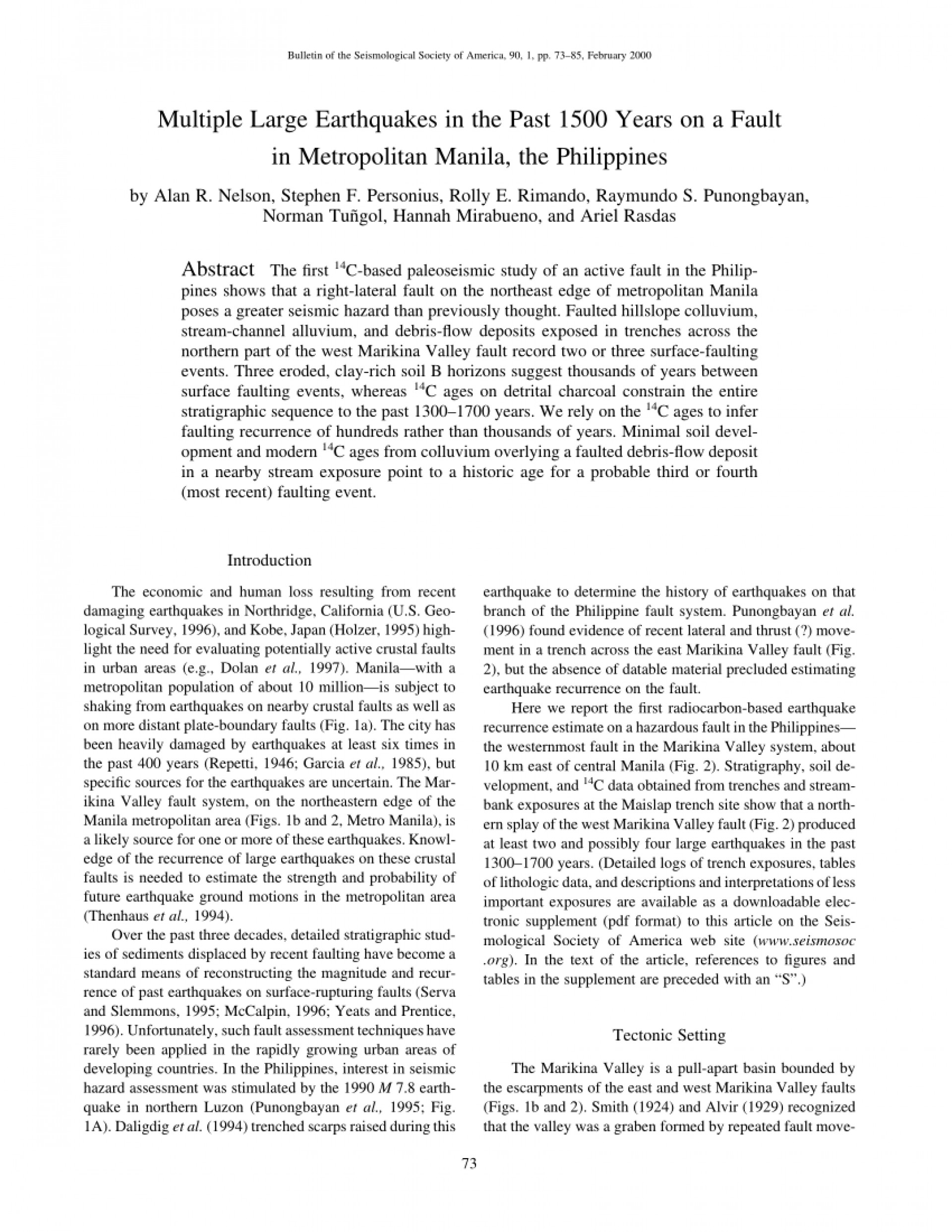 003 Research Paper Earthquake Pdf Philippines Wondrous 1920