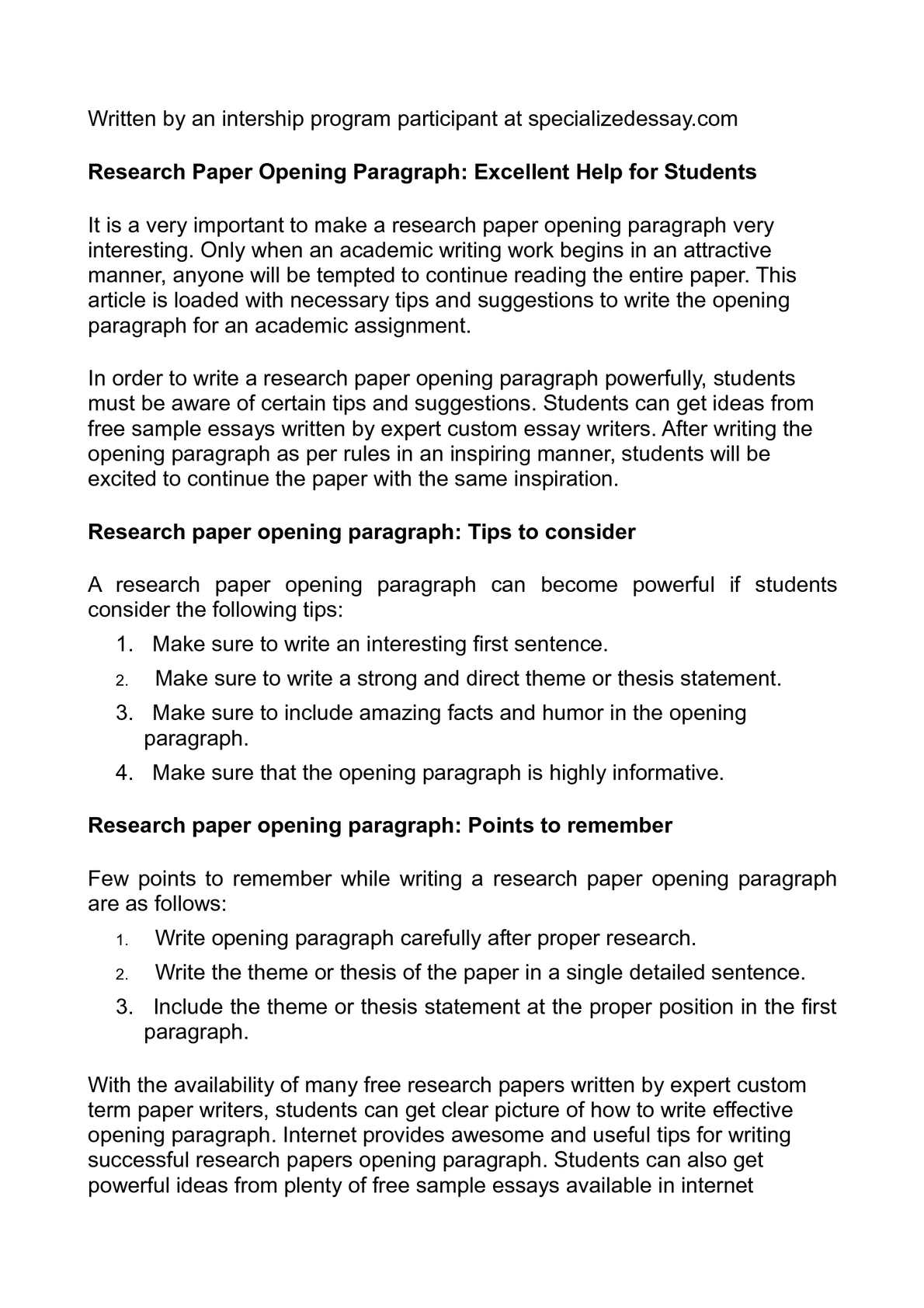 003 Research Paper Good Opening Paragraph For Rare Introductory A Conclusion Introduction Full