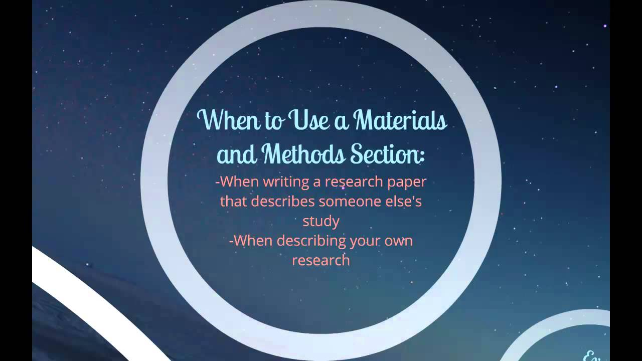 003 Research Paper How To Write Materials And Methods In Excellent A Example Full