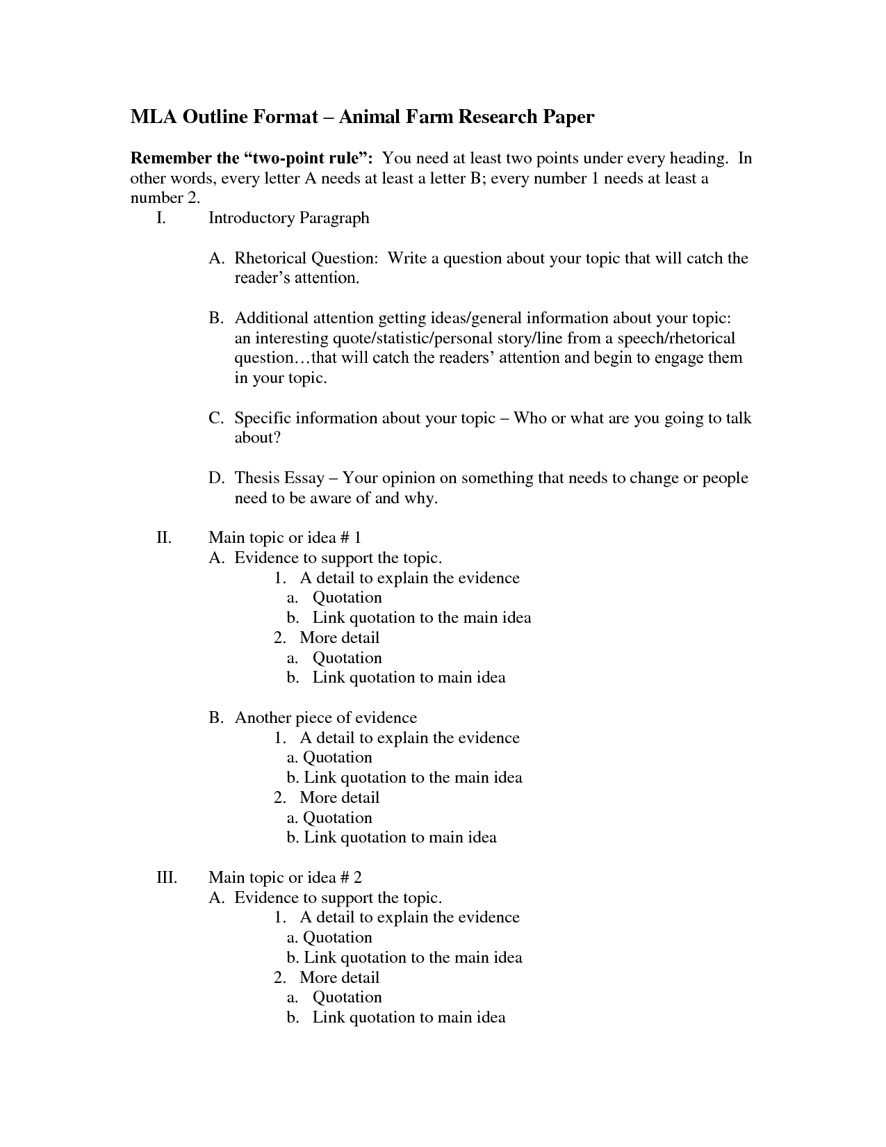 college research paper outline