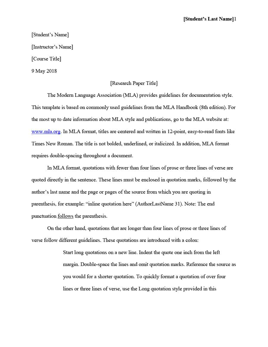 003 Research Paper Mla Style Format Template Fantastic Sample Title Page Outline Full