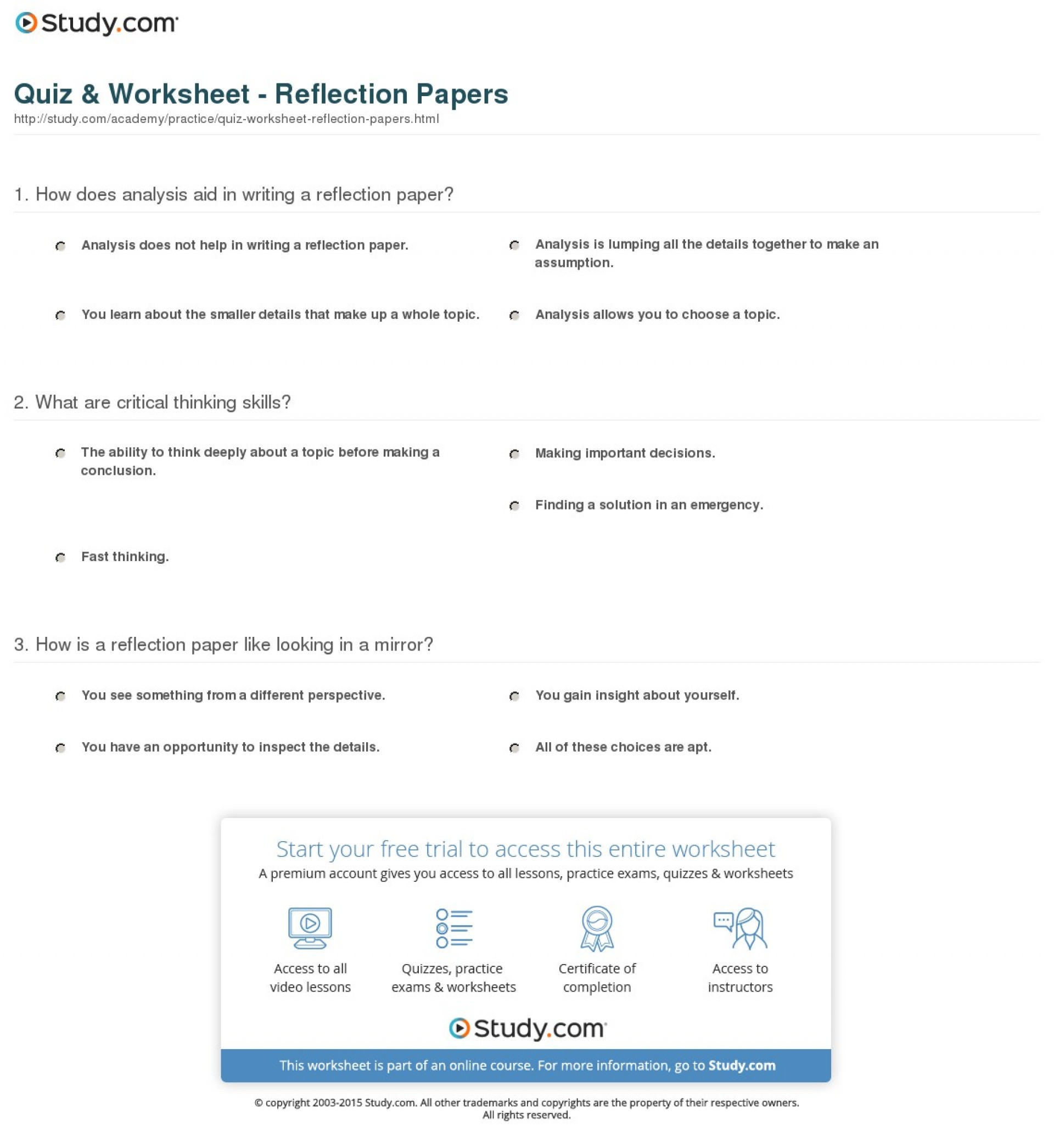 003 Research Paper Parts Of Quiz Worksheet Reflection Impressive A 1920