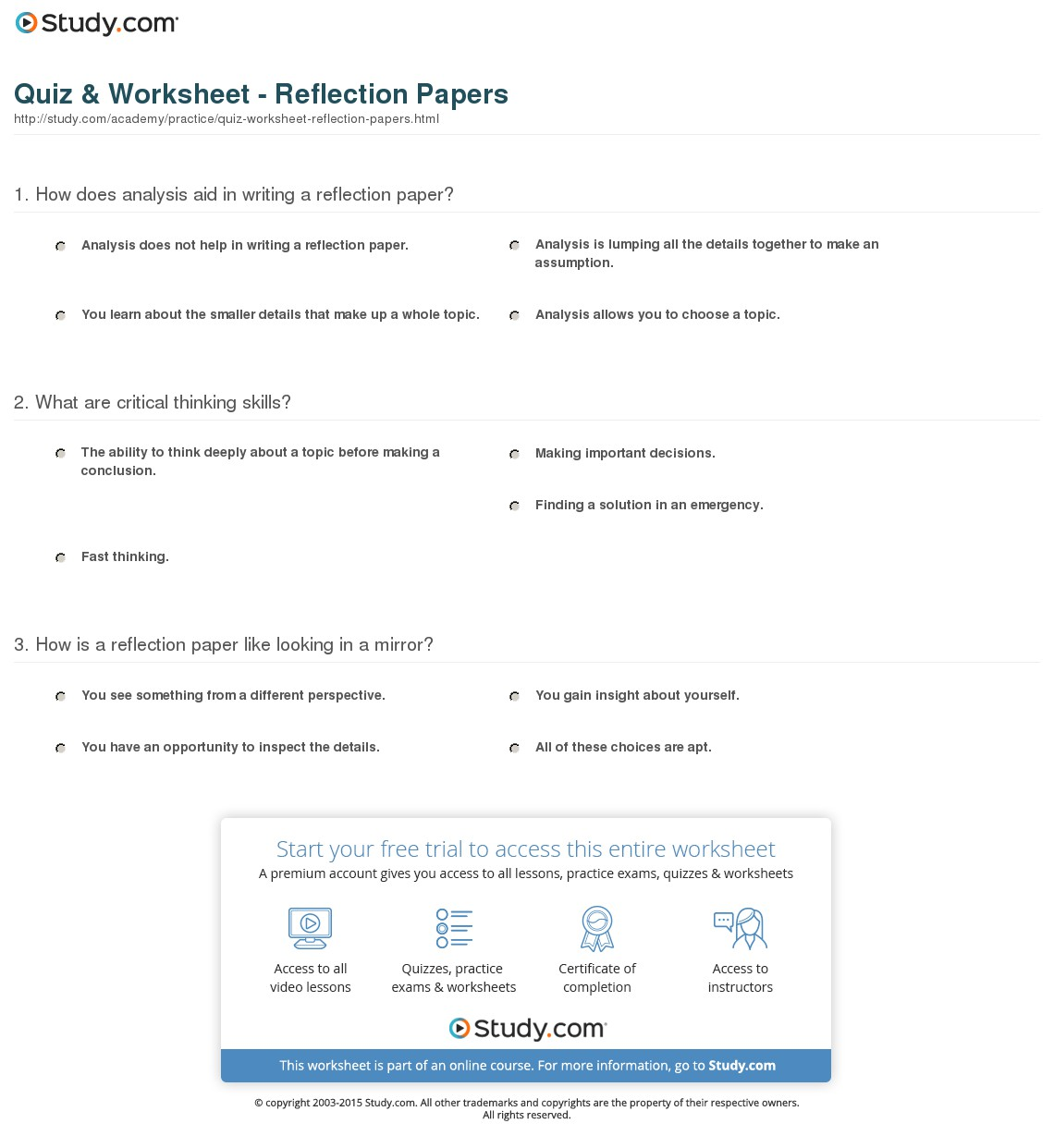 003 Research Paper Parts Of Quiz Worksheet Reflection Impressive A Full