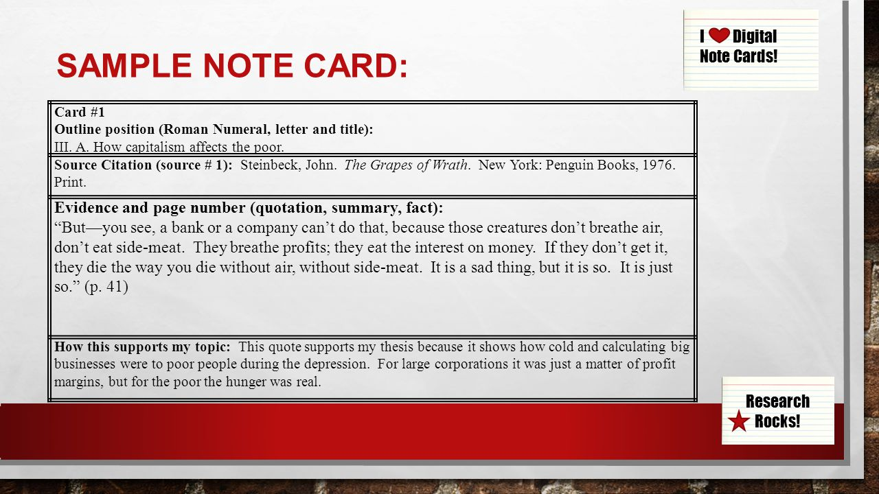 003 Research Paper Slide 9 Note Cards Examples For Unique A Example Card Format Template Full