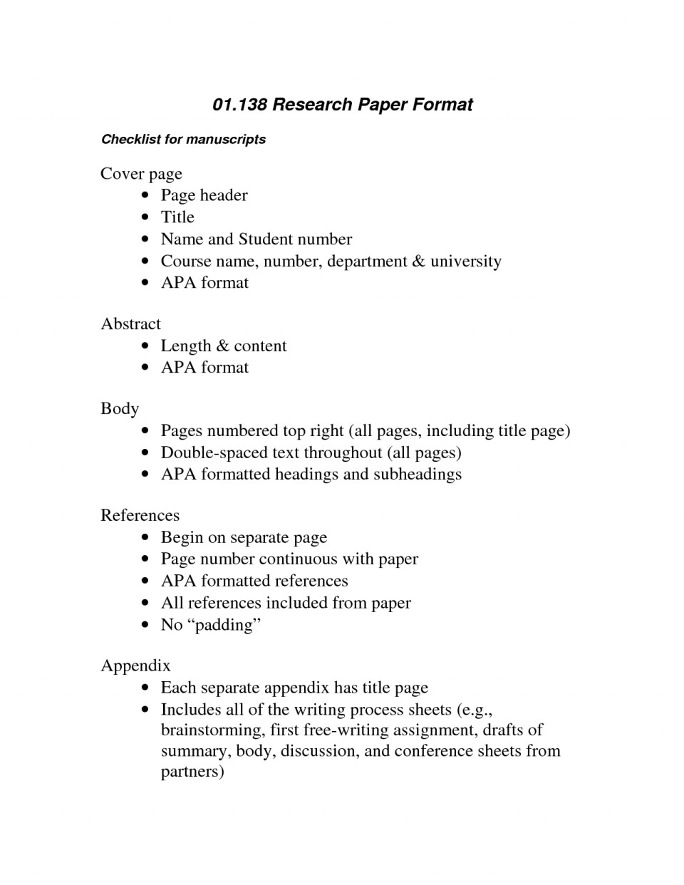 003 Research Papers In Apa Format Paper Archaicawful Psychology Essay Outline Sample 960