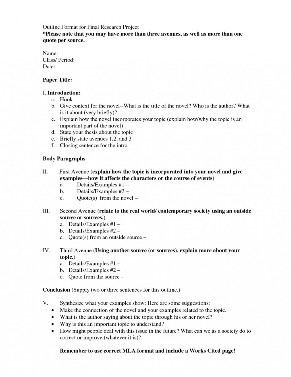 003 Sample Outline Research Project 477737 English Beautiful Paper Large