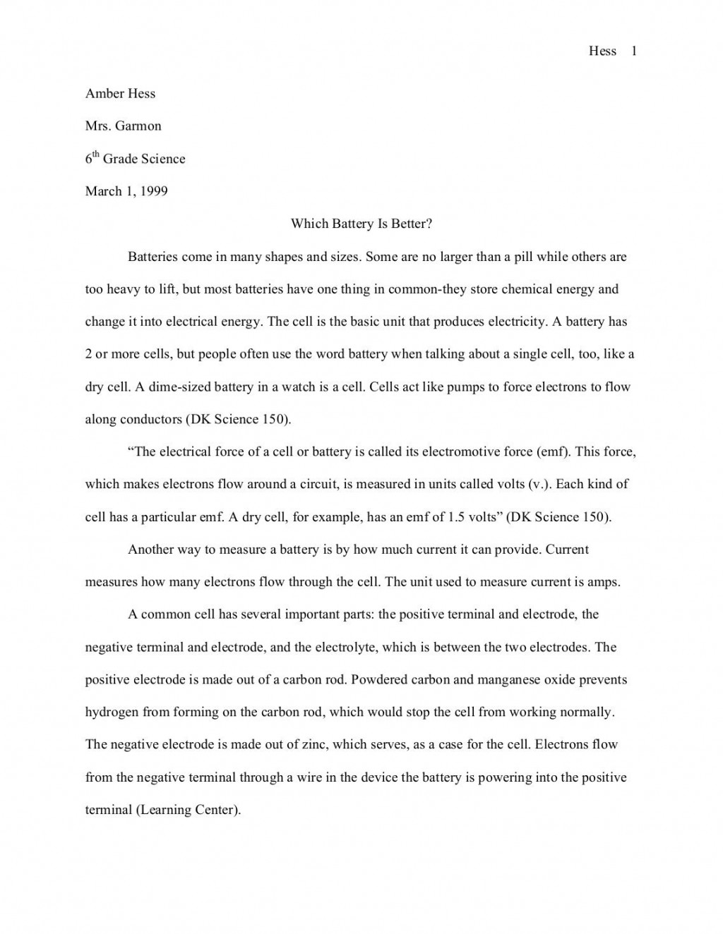 003 Science Buddies Sample Fair Research Paperquality85 6th Grade Paper Outstanding Example Large
