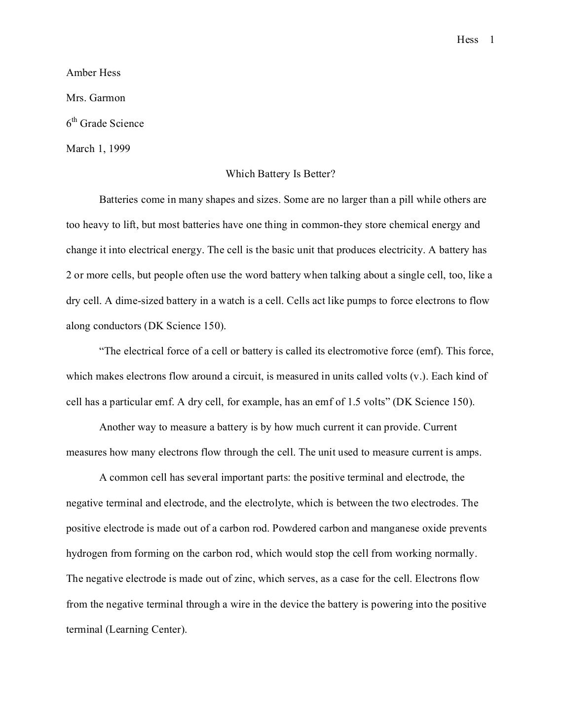 003 Science Buddies Sample Fair Research Paperquality85 6th Grade Paper Outstanding Example Full