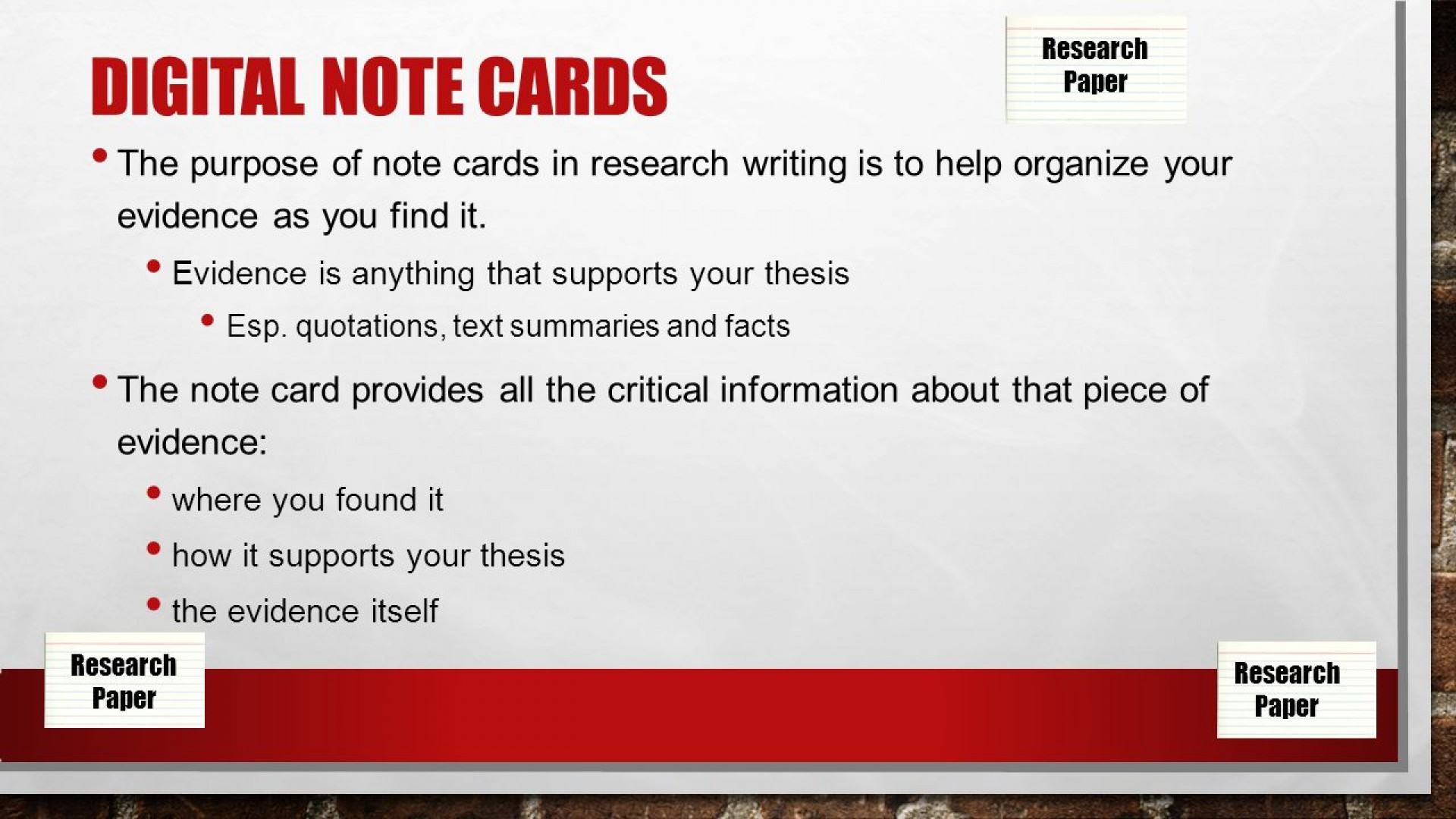 003 Slide 2 Research Paper Note Cards Rare For Formatting Notecards Papers Mla Digital 1920