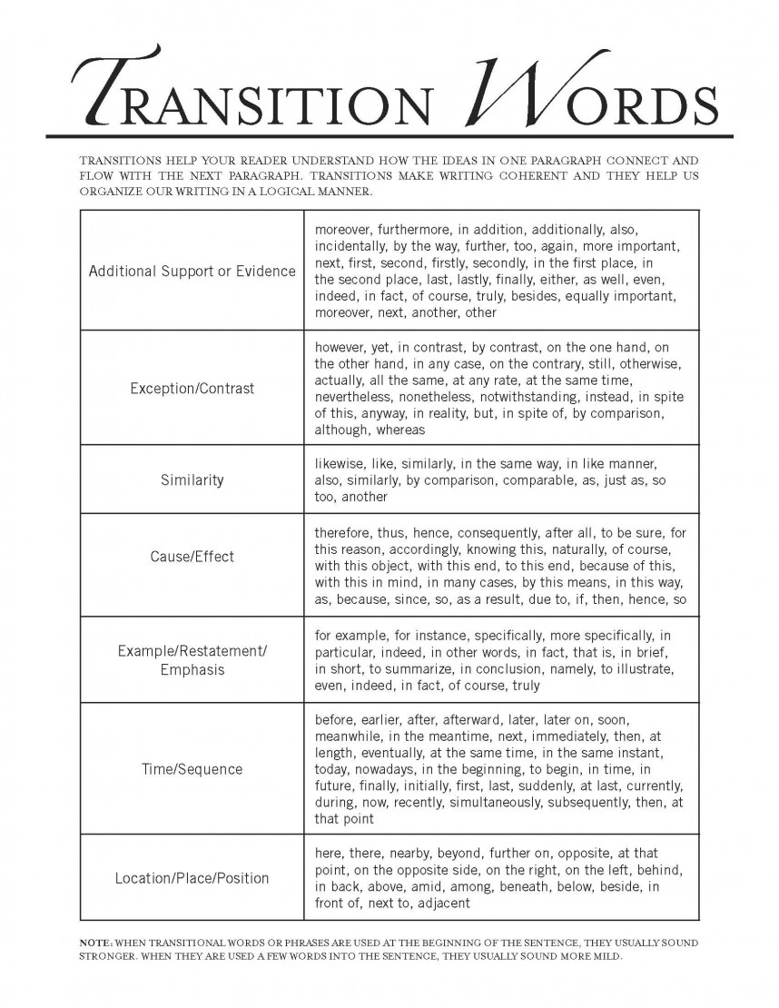 good research paper transitions