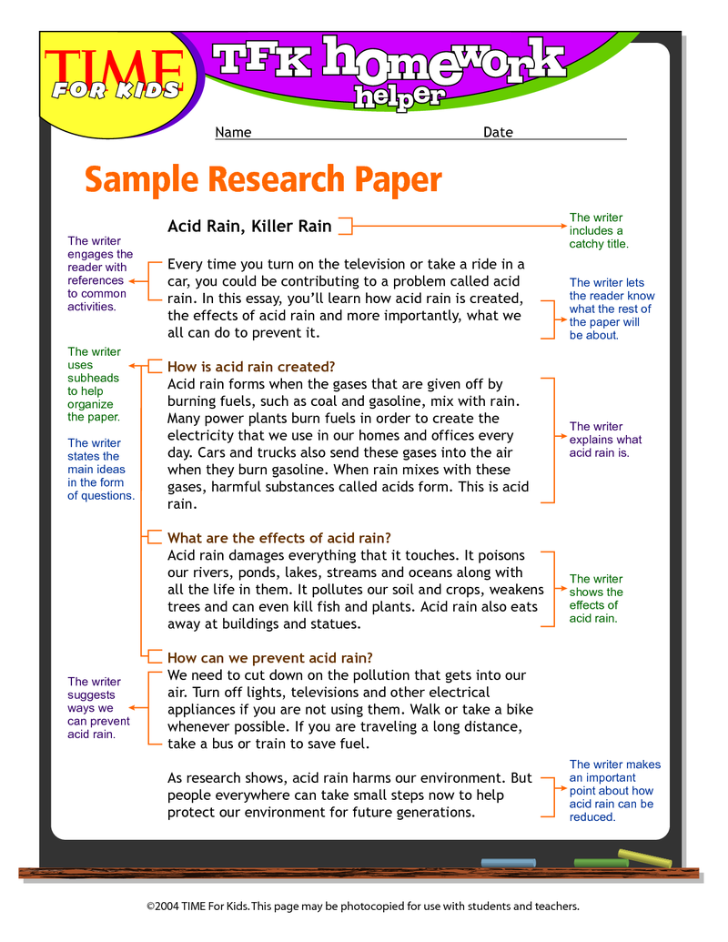 004 6th Grade Science Fair Research Paper Example Outstanding Full