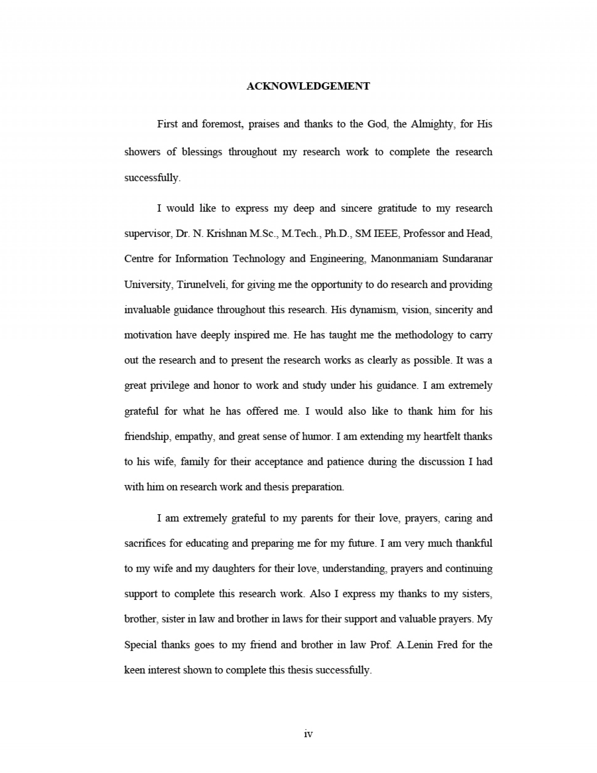 004 Acknowledgement For Research Paper Examples Sample Striking 1920