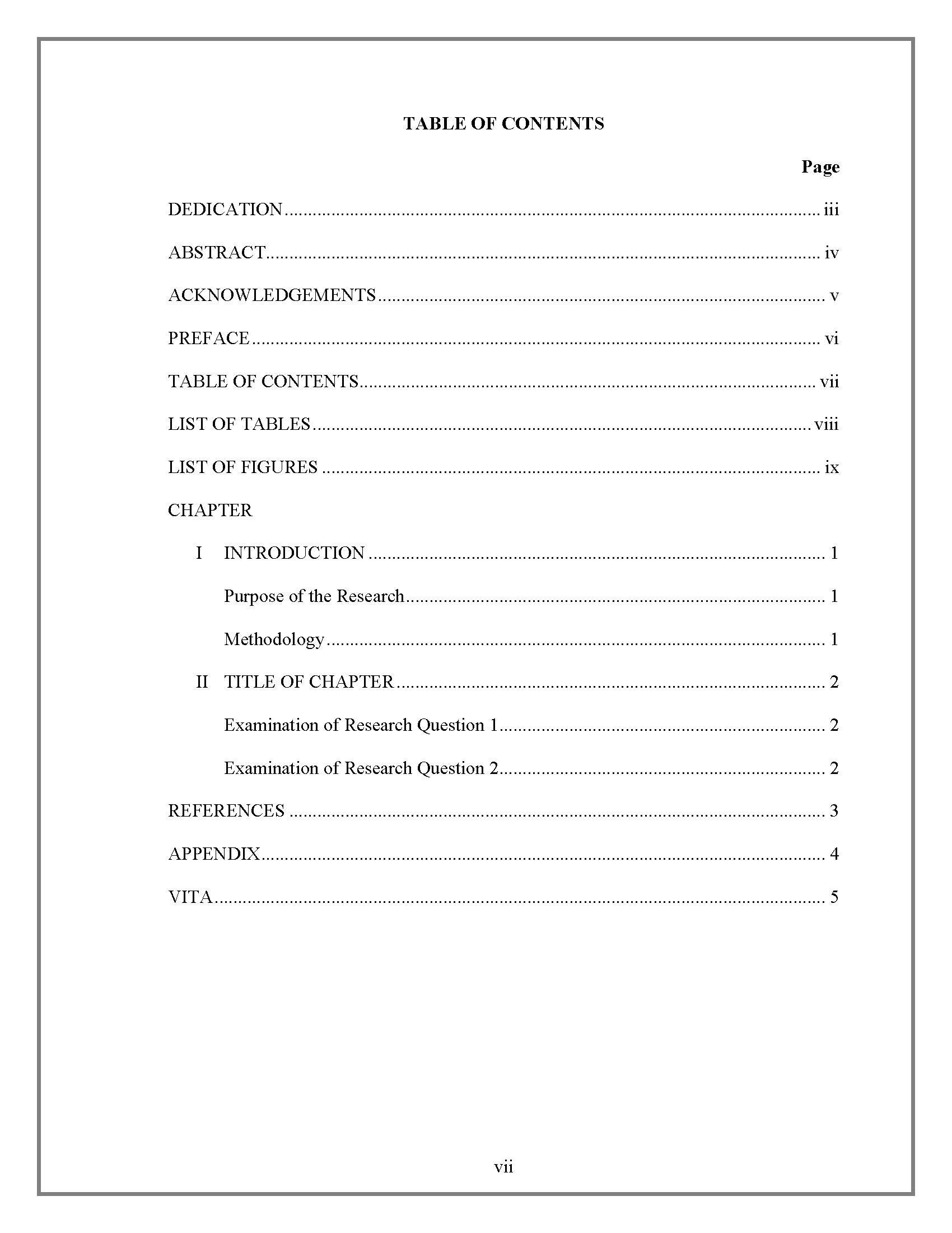 004 Apa Format Research Paper Table Of Contents Contentsborder Amazing Sample Example Full