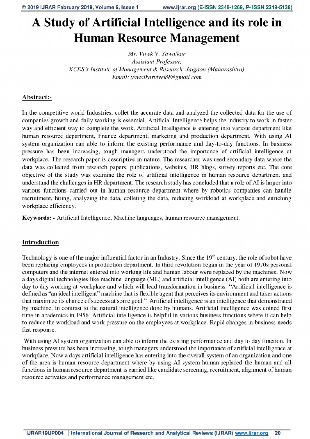 004 Artificial Intelligence Research Paper Awful 2019 Large