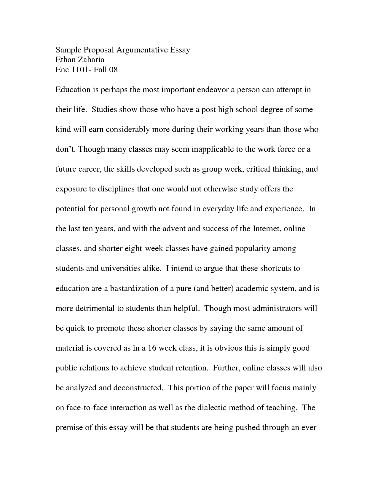 proposal for argumentative research paper example of