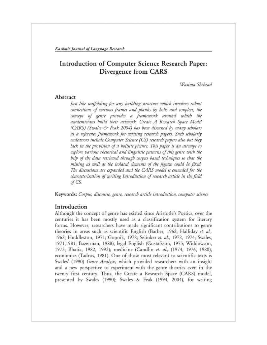 004 Computer Science Research Paper Publishing Journals Sensational