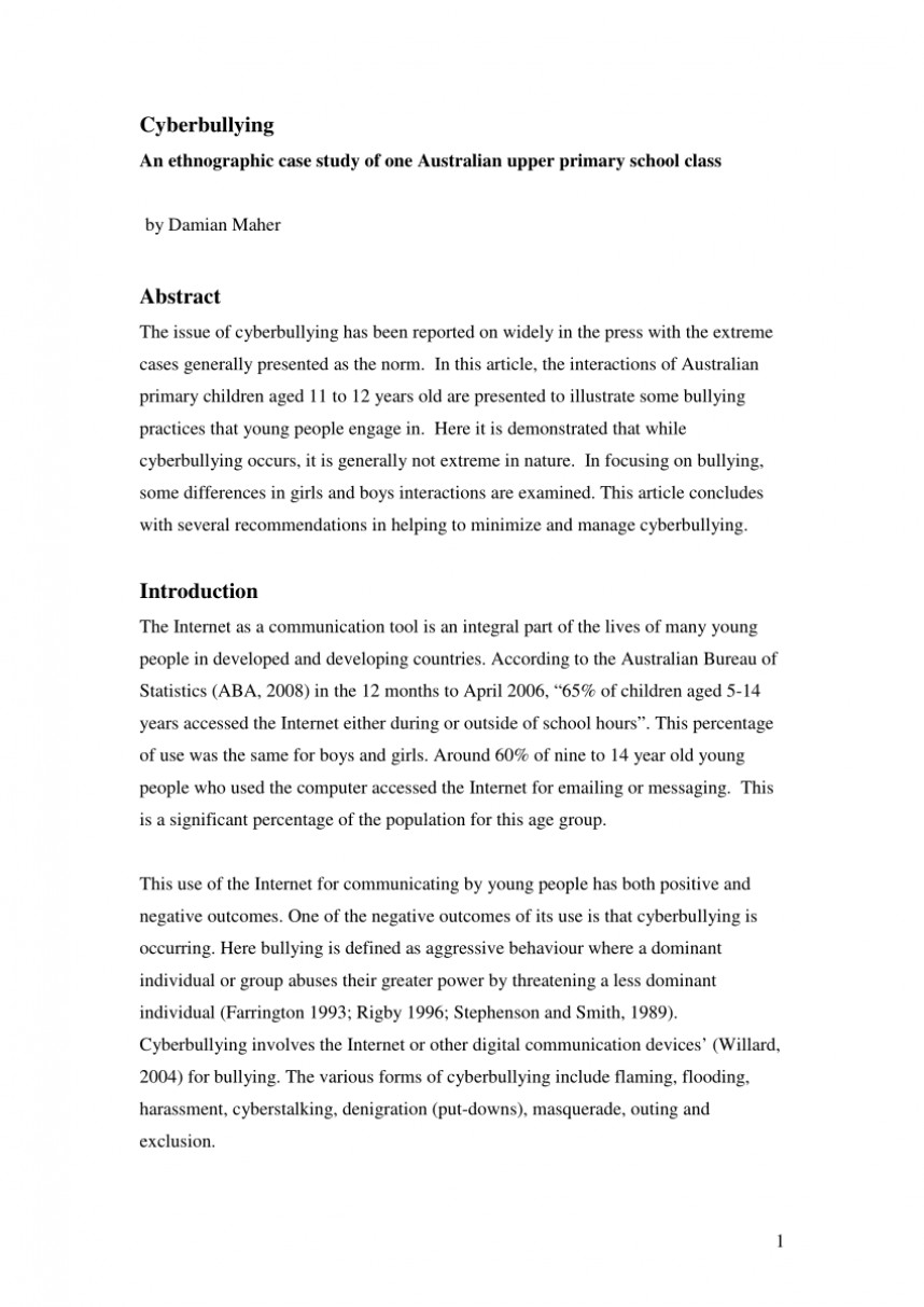 004 Cyberbullying Research Paper Abstract Phenomenal