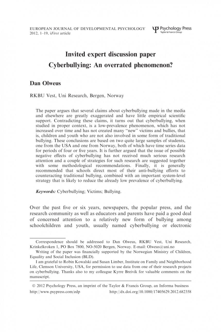004 Cyberbullying Research Paper Conclusion Rare