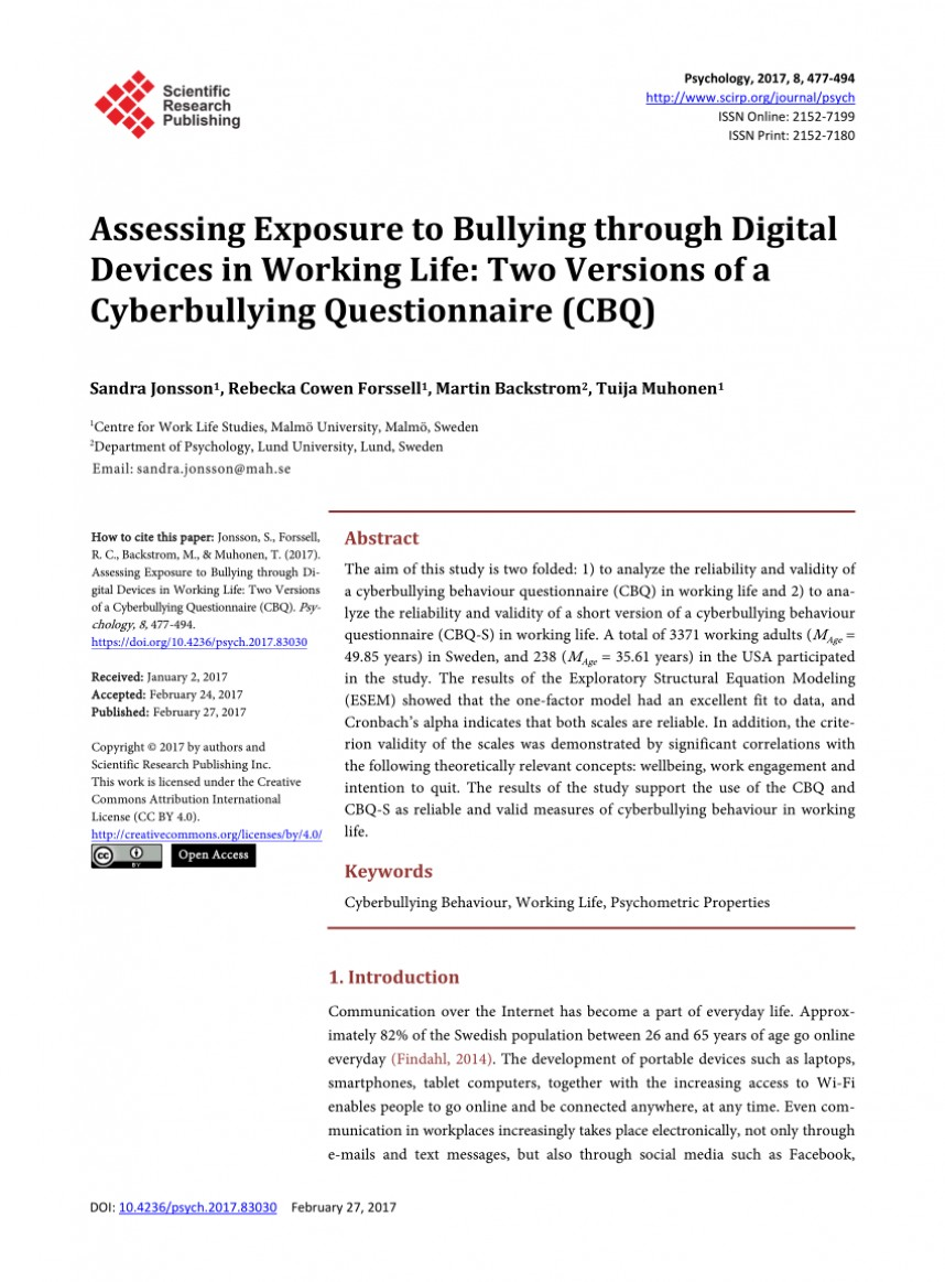 004 Cyberbullying Research Paper Questionnaire Dreaded