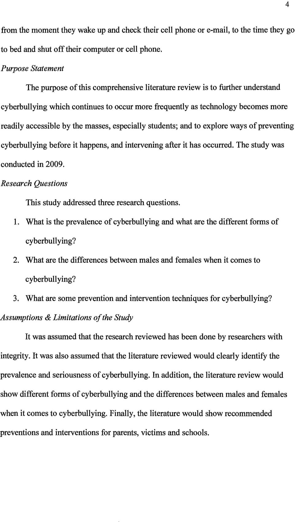 004 Cyberbullying Research Questions Paper Page 8 Awful Topic Full