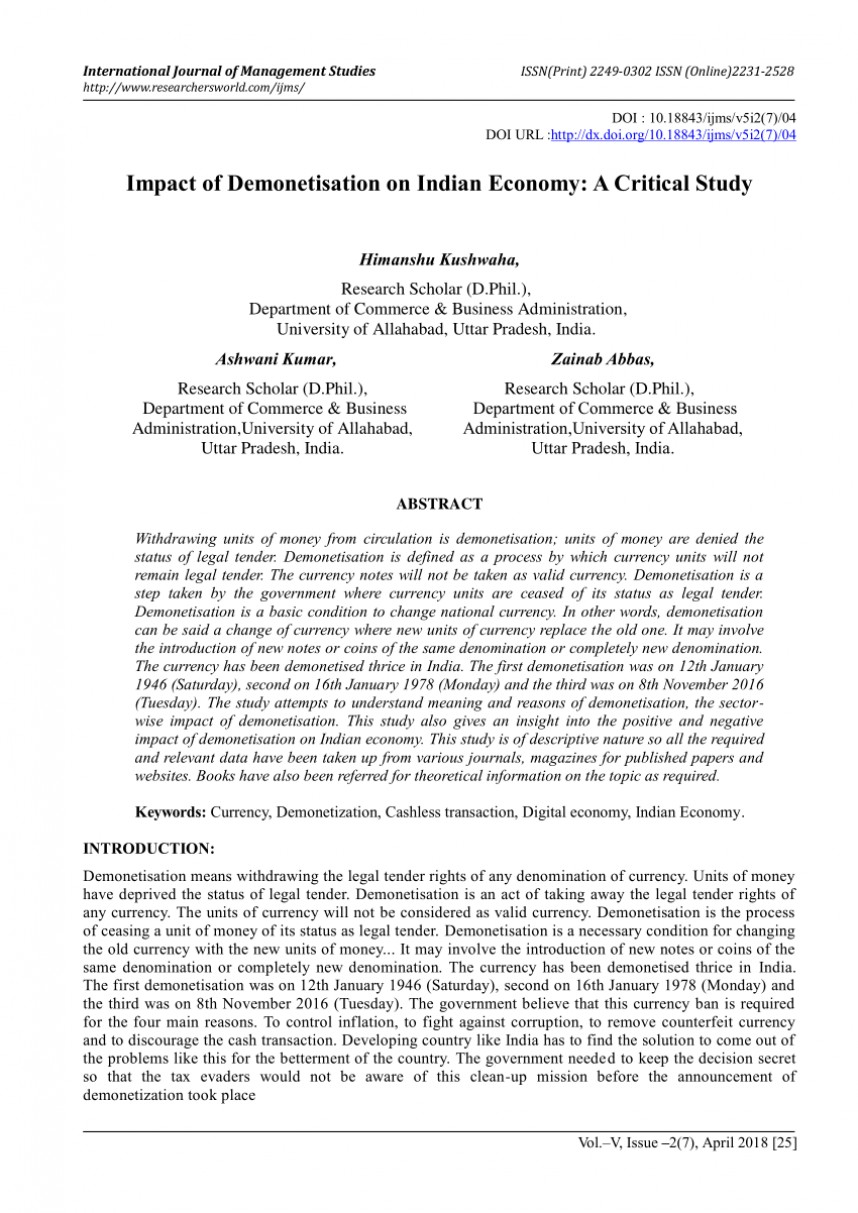 004 Demonetization And Its Impact On Indian Economy Research Paper Frightening