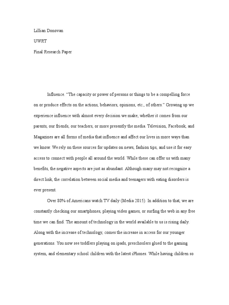 004 Eating Disorders And Media Research Paper Free Papers Wondrous On Full