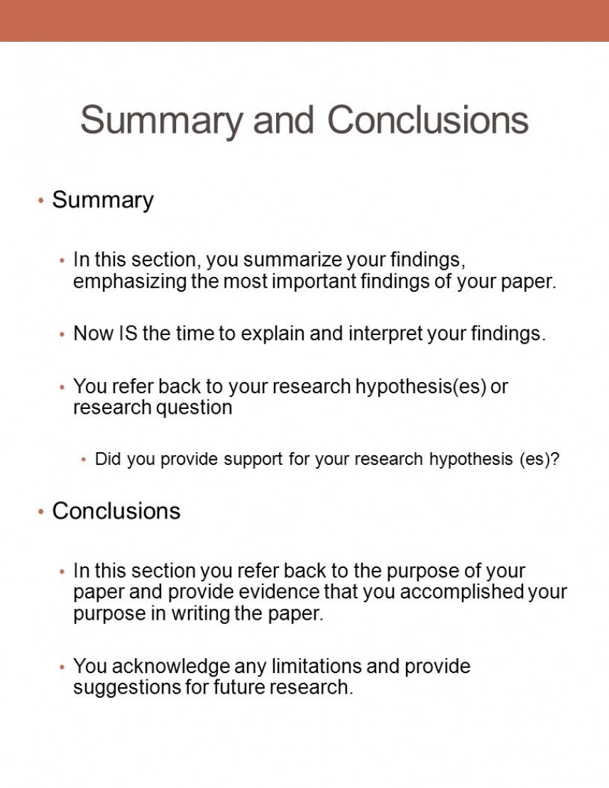 stupendous example of summary findings in a research paper